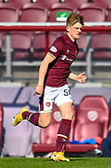 Finlay Pollock (#54)) of Heart of Midlothian FC makes his first team debut during the SPFL Championship match between Heart of Midlothian and Inverness CT at Tynecastle Park, Edinburgh Scotland on 24 April 2021.