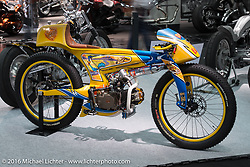 Larry Houghton's Lamb Engineering 140cc Lifan powered Road Runner on display at the AMD World Championship of Custom Bike Building show in the custom themed Hall 10 at the Intermot Motorcycle Trade Fair. Cologne, Germany. Tuesday October 4, 2016. Photography ©2016 Michael Lichter.