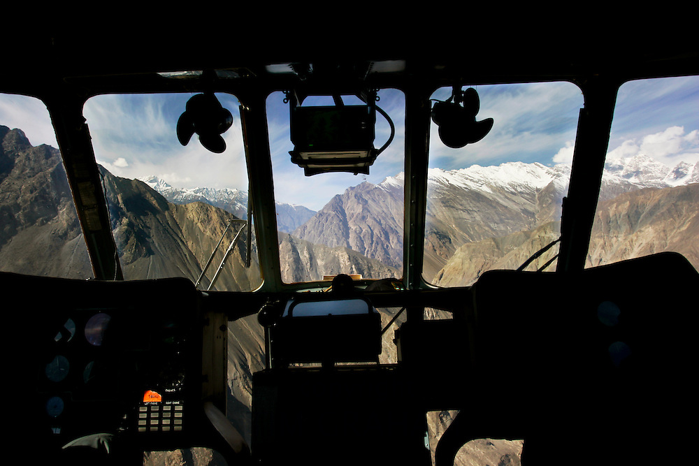Peaks of Karokoram Mountains from helicopter cockpit, Skardu Valley, North Pakistan
