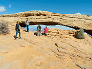 View of Mesa Arch, a beautiful arch in Canyonlands National Park, near Moab, Utah, USA.