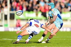 Jack Nowell of Exeter Chiefs is marked by Robert Ebersohn of Castres Olympique - Mandatory by-line: Ryan Hiscott/JMP - 13/01/2019 - RUGBY - Sandy Park Stadium - Exeter, England - Exeter Chiefs v Castres - Heineken Champions Cup