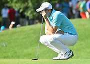 ST. LOUIS, MO - AUGUST 09: Matthew Fitzpatrick lines up his putt on the #10 green during the first round of the PGA Championship on August 09, 2018, at Bellerive Country Club, St. Louis, MO.  (Photo by Keith Gillett/Icon Sportswire)