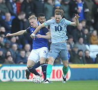 Blackburn Rovers Sam Gallagher   battles with  Birmingham City's Kristian Pedersen <br /> <br /> Photographer Mick Walker/CameraSport<br /> <br /> Emirates FA Cup Third Round - Birmingham City v Blackburn Rovers - Saturday 4th January 2020 - St Andrew's - Birmingham<br />  <br /> World Copyright © 2020 CameraSport. All rights reserved. 43 Linden Ave. Countesthorpe. Leicester. England. LE8 5PG - Tel: +44 (0) 116 277 4147 - admin@camerasport.com - www.camerasport.com