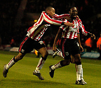 Photo: Alan Crowhurst.<br />Southampton v Milton Keynes Dons. The FA Cup.<br />07/01/2006. <br />Darren Kenton (R) celebrates his winner for Saints.