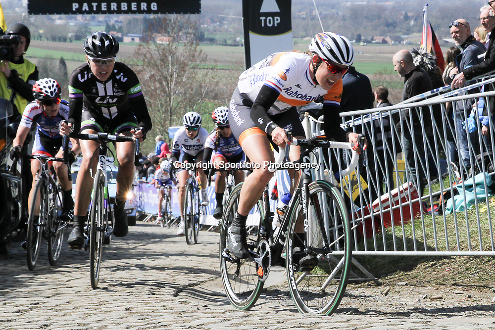 OUDENAARDE (BEL) cycling<br /> The 3th race in the UCI womens World Cup is the 12th edition of the Ronde van Vlaanderen. The race distance is 145 km with 12 Climbs and 5 zones of Cobbles.<br /> Op de top van de Paterberg Lucinda Brand (Rabo) en Sabrina Stultiens (Liv) <br /> <br /> — NOVUM COPYRIGHT SPORTFOTO PHOTOAGENCY—