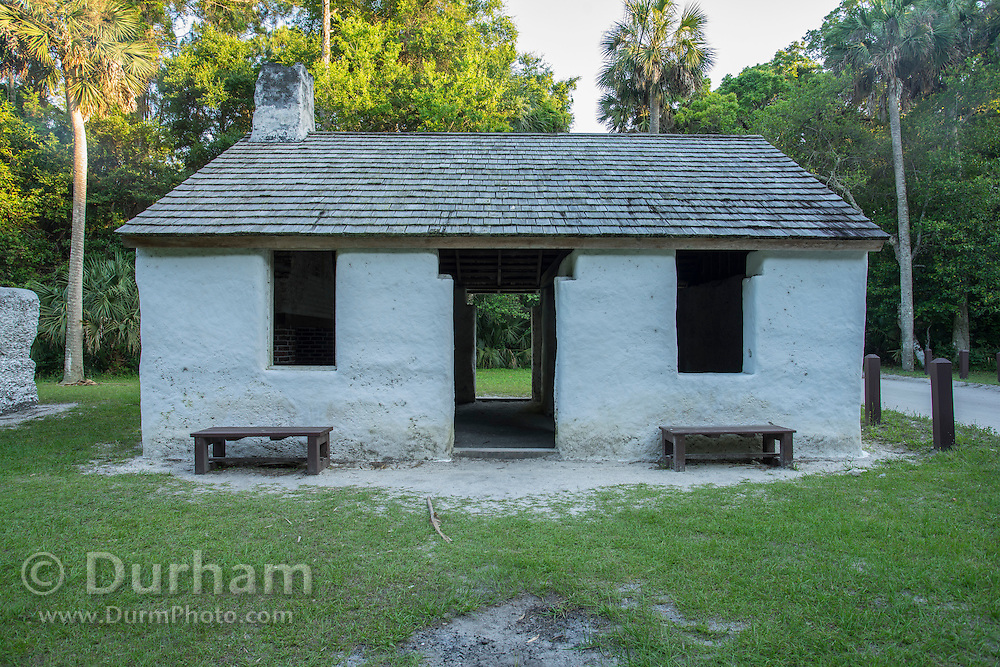 A restored 200 year old slave cabin from the Kingsley Plantation in the Timucuan Ecological & Historic Preserve, Florida. The cabins are made from Tabby, a mixture of oyster shells, sand, and water.