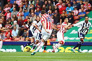 Charlie Adam of Stoke City takes a free kick. Barclays Premier League match, Stoke city v West Bromwich Albion at the Britannia stadium in Stoke on Trent, Staffs on Saturday 29th August 2015.<br /> pic by Chris Stading, Andrew Orchard sports photography.