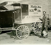1927 Frank Muller by his ice wagon as his entry in the Old Settlers' Day Parade