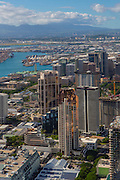 Aerial, downtown, Honolulu, Oahu, Hawaii