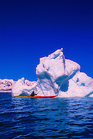 Sea kayaking near the Columbia Glacier, Prince William Sound, near Valdez, Alaska