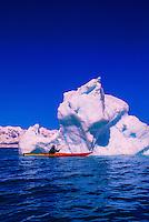 Sea kayaking near the Columbia Glacier, Prince William Sound, near Valdez, Alaska