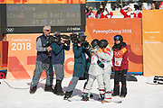 Chloe Kim, USA, GOLD with Jiayu Liu, China, SILVER and Arielle Gold, USA, BRONZE following the womens halfpipe final at the Pyeongchang Winter Olympics on 13th February 2018 at Phoenix Snow Park in South Korea