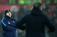 Tottenham Hotspur manager Mauricio Pochettino looks on from the touchline.  Premier league match, Swansea city v Tottenham Hotspur at the Liberty Stadium in Swansea, South Wales on Tuesday 2nd January 2018. <br /> pic by  Andrew Orchard, Andrew Orchard sports photography.