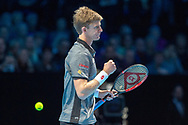 Kevin Anderson of South Africa fist pumps in celebration  during the Nitto ATP World Tour Finals at the O2 Arena, London, United Kingdom on 13 November 2018.Photo by Martin Cole