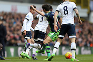 Jack Cork of Swansea City fouls Danny Rose of Tottenham Hotspur. Barclays Premier league match, Tottenham Hotspur v Swansea city at White Hart Lane in London on Sunday 28th February 2016.<br /> pic by John Patrick Fletcher, Andrew Orchard sports photography.