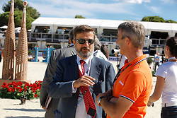 Santiago Varela (ESP) the course builder talking to Eric Van der Vleuten<br /> Furusiyya FEI Nations Cup Jumping Final <br /> CSIO Barcelona 2013<br /> © Dirk Caremans