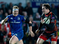 Rhodri Williams of Dragons scores his sides first try<br /> <br /> Photographer Simon King/Replay Images<br /> <br /> Guinness PRO14 Round 10 - Dragons v Leinster - Saturday 1st December 2018 - Rodney Parade - Newport<br /> <br /> World Copyright © Replay Images . All rights reserved. info@replayimages.co.uk - http://replayimages.co.uk