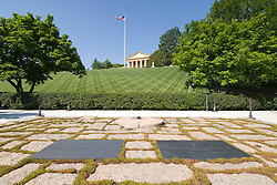 Washington DC; USA: Arlington National Cemetery, John and Jacqueline Kennedy's graves and eternal flame, with Arlington House in the background.Photo copyright Lee Foster Photo # 21-washdc80638