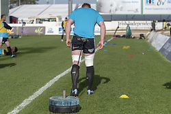 March 2, 2019 - Galway, Ireland - Bradley Davies of Ospreys pictured during the warm-up during the Guinness PRO 14 match  between Connacht Rugby and Ospreys at the Sportsground in Galway, Ireland on March 2, 2019  (Credit Image: © Andrew Surma/NurPhoto via ZUMA Press)