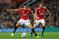 20th September 2017 - Carabao Cup (3rd Round) - Manchester United v Burton Albion - Ander Herrera of Man Utd (L) and teammate Juan Mata - Photo: Simon Stacpoole / Offside.