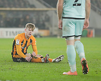 Hull City's Keane Lewis-Potter adjusts his sock after a challenge<br /> <br /> Photographer Lee Parker/CameraSport<br /> <br /> The EFL Sky Bet League One - Hull City v Rochdale - Tuesday 2nd March 2021 - KCOM Stadium - Kingston upon Hull<br /> <br /> World Copyright © 2021 CameraSport. All rights reserved. 43 Linden Ave. Countesthorpe. Leicester. England. LE8 5PG - Tel: +44 (0) 116 277 4147 - admin@camerasport.com - www.camerasport.com