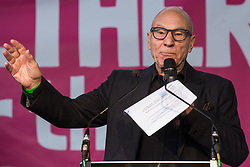 London, UK. 19 October, 2019. Sir Patrick Stewart, actor, addresses hundreds of thousands of pro-EU citizens at a Together for the Final Say People's Vote rally in Parliament Square as MPs meet in a 'super Saturday' Commons session, the first such sitting since the Falklands conflict, to vote, subject to the Sir Oliver Letwin amendment, on the Brexit deal negotiated by Prime Minister Boris Johnson with the European Union.