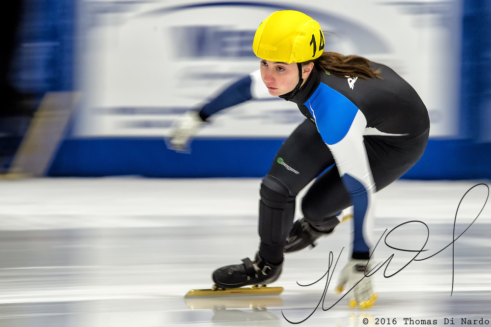 March 20, 2016 - Verona, WI - Samantha Leventis, skater number 14 competes in US Speedskating Short Track Age Group Nationals and AmCup Final held at the Verona Ice Arena.