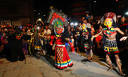 September 4, 2017 - Kathmandu, Nepal - Masked dancers perform in celebration of  Indrajatra festival in Kathmandu, Nepal. Indra Jatra is an eight day festival with a chariot procession dedicated to Goddess Kumari, Lord Ganesh and Bhairav, as well as worshiping Indra, the king of gods. (Credit Image: © Archana Shrestha/Pacific Press via ZUMA Wire)