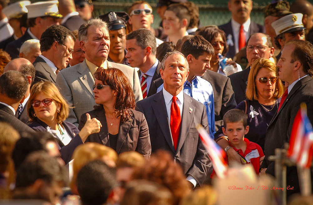 Mayor Michael Bloomberg at Ground Zero. 9/11 scenes in New York City on September 11, 2001 and at subsequent events relating to the terror attacks on the World Trade Centers in New York City, the Pentagon in Arlington, Virginia and at Shanksville, Pa..