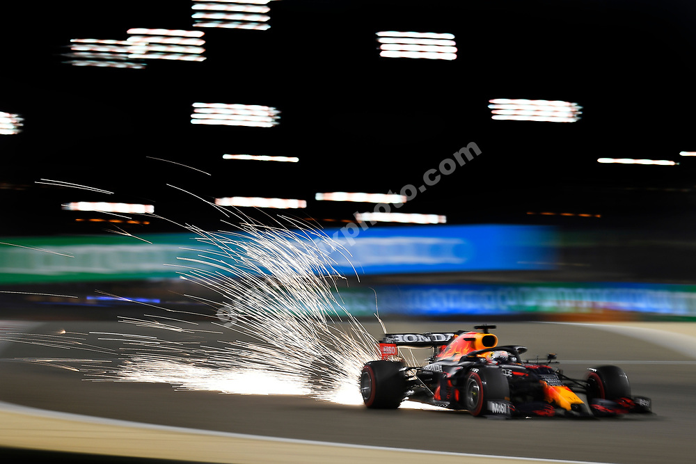 Sparks fly from Max Verstappen (Red Bull-Honda) during practice for the 2021 Bahrain Grand Prix. Photo: Grand Prix Photo