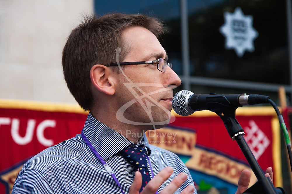 London, July 18th 2013. London Assembly member Stephen Knight addresses firefighters protesting against cuts to the fire service in London