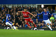 Richarlison of Watford (c) goes between Idrissa Gueye and Gylfi Sigurdsson of Everton (r). Premier league match, Everton vs Watford at Goodison Park in Liverpool, Merseyside on Sunday 5th November 2017.<br /> pic by Chris Stading, Andrew Orchard sports photography.
