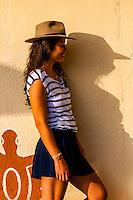 A Venezuelan woman wearing a fedora, Akumal, Riviera Maya, Mexico.