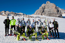 1st line (L-R): Domen Potocnik, Rok Trsan and Matija Rimahazi, 2nd line: Torvik Per Oyvind, Marko Gracer, Alenka Cebasek, Mirjam Cossettini, Vesna Fabjan, Barbara Jezersek, Katja Visnar, Nika Razinger, Eva Sever Rus and Nejc Brodar during Training camp of Slovenian Cross country Ski team on October 23, 2012 in Dachstein Getscher, Austria. (Photo By Vid Ponikvar / Sportida)