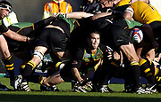 Northampton, Northamptonshire, 2nd October 2004 Northampton Saints vs London Wasps, Zurich Premiership Rugby, Franklyn Gardens, [Mandatory Credit: Peter Spurrier/Intersport Images],<br /> Saints Mark Robinson clears from the back of the scrum.