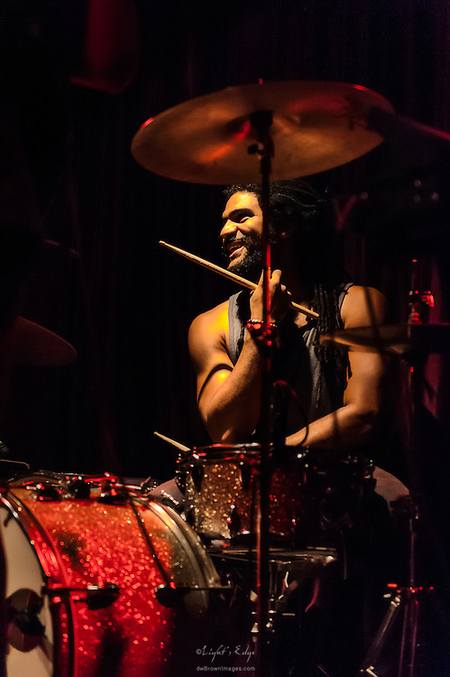 Adam Williams, on drums, performing with Long Miles at Kung Fu Necktie in Philadelpia, PA.
