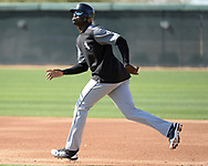 GLENDALE, ARIZONA - FEBRUARY 20:  Luis Robert #92 of the Chicago White Sox runs the bases during a spring training workout February 20, 2018 at Camelback Ranch in Glendale Arizona.  (Photo by Ron Vesely)  Subject:   Luis Robert