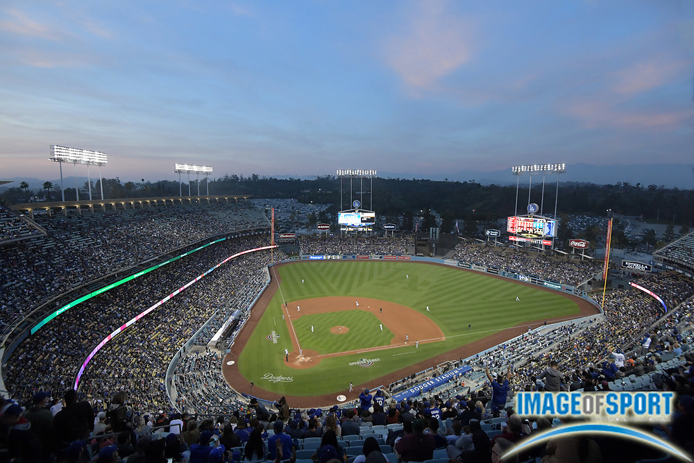 Apr 1, 2018; Los Angeles, CA, USA; General overall view of a MLB baseball game between the San Francisco Giants and the Los Angeles Dodgers at Dodger Stadium.The Dodgers defeated the Giants 9-0.