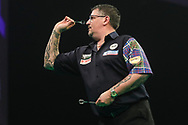 Gary Anderson during the Unibet Premier League darts at Motorpoint Arena, Cardiff, Wales on 20 February 2020.