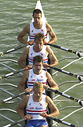 Seville, Andalusia, SPAIN<br /> <br /> 2002 World Rowing Championships - Seville - Spain Sunday 15/09/2002.<br /> <br /> Rio Guadalquiver Rowing course<br /> <br /> GBR LM4X<br /> Nick Wakefield, Hugh Mackworth-Praed, Stephen Lee and Matt Beechey<br /> <br /> [Mandatory Credit:Peter SPURRIER/Intersport Images]