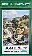 Vintage British Railways rail advertising poster, Swanage railway station, Dorset, England, UK - Somerset travel by train