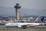 A United Airlines 777-200ER taxis to the Tom Bradley International Terminal after landing at Los Angeles International Airport (LAX) on Saturday, February 29, 2020 in Los Angeles. (Brandon Sloter/Image of Sport)