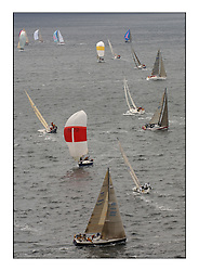 Day 2 of the Bell Lawrie Scottish Series with wild conditions on Loch Fyne for all fleets. Exhilarating and testing racing for Boats and crew...Class 2 fleet rounding Leeward mark  GBR1284 and IRL5476, Kind of Magic with kite up..