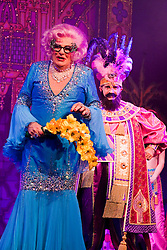 """© Licensed to London News Pictures. 08/12/2011. London, England. L-R: Barry Humphries as Dame Edna Everage - Saviour of London and Anthony Houghton as Sultana of Morocco. Dick Whittington panto starring Dame Edna Everage (Barry Humphries) as the """"Saviour of London"""" opens at the New Wimbledon Theatre, London. The show, written and directed by Eric Potts is scheduled to run to 15 January 2012. Photo credit: Bettina Strenske/LNP"""