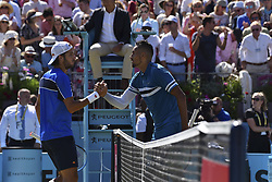 June 22, 2018 - London, United Kingdom - Feliciano Lopez of Spain (L) reacts after defeat to Nick Kyrgios of Australia (R) during their 1/4 final match on Day 5 of the Fever-Tree Championships at Queens Club on June 22, 2018 in London, United Kingdom. (Credit Image: © Alberto Pezzali/NurPhoto via ZUMA Press)