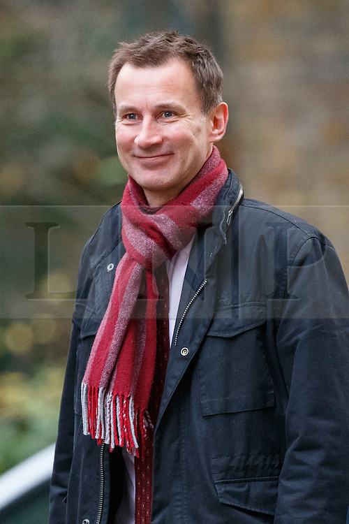 © Licensed to London News Pictures. 26/01/2016. London, UK. Health Secretary JEREMY HUNT attending a cabinet meeting in Downing Street on Tuesday, 26 January 2016. Photo credit: Tolga Akmen/LNP