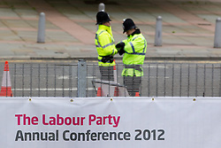 © Licensed to London News Pictures. 30/09/2012. Manchester, UK . Police security at the Manchester Central venue . Labour Party Conference Day 1 at Manchester Central . Photo credit : Joel Goodman/LNP