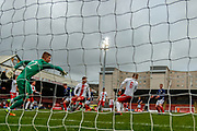 Polish keeper Kacper Bieszczad guards his net against the Scottish threat during the U17 European Championships match between Scotland and Poland at Firhill Stadium, Maryhill, Scotland on 26 March 2019.