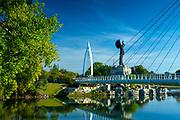 Kansas / Wichita / Keeper Of The Plains Sculpture / Keeper Of The Plains Plaza / Native American Warrior Sculpture /  Forty Four Foot Tall Steel Sculpture / Suspended Foot Bridge / Arkansas River / Sacred Ground