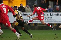 Photo: Pete Lorence.<br />Boston United v Swindon Town. Coca Cola League 2. 20/01/2007.<br />Michael Pook puts Boston into the lead.